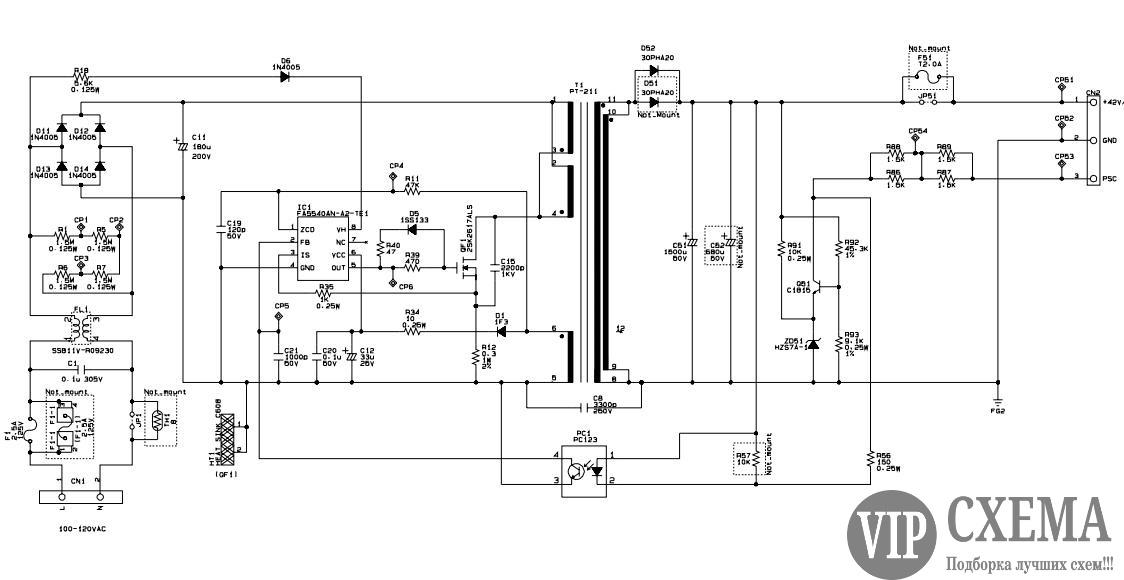 Схемы блоков питания принтеров epson
